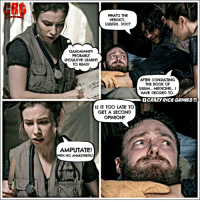 Crazy, Memes, and Book: WHAT'S THE  VERDICT  UUUGH. DOC?  GAADAMMITI  PROBABLY  SHOULDVE LEARNT  TO READI  AFTER CONSULTING  THE BOOK OF  UUUM... MEDICINE.. I  HAVE DECIDED TO  f CRAZYRICK GRIMES C  IS IT TOO LATE TO  GET A SECOND  OPINION?  AMPUTATE!  WITH NO ANAESTHETIC! He only needed a couple of band aids and lay down! Dammit Enid! Crazy Rick Grimes