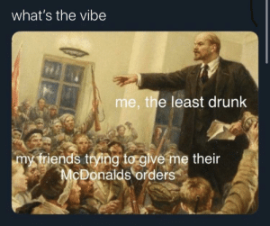 Meirl: what's the vibe  me, the least drunk  my triends trying to glve me their  McDonalds orders Meirl