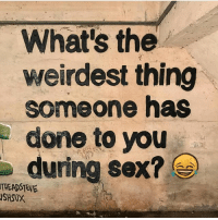 Sex, Trendy, and Thing: What's the  weirdest thing  someone has  done to you  during sex? e  THEADSTEVE  SHSUX Loved me