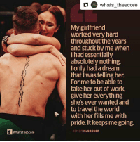Repost from @whats_thescore ・・・ The woman behind the warrior. Happy birthday, Conor! conormcgregor ireland thenotorious king mma legend instalike instagram whatsthescore instagood instasport love life: whats_thescore  My girlfriend  worked very hard  throughout the years  and stuck by me when  I had essentially  absolutely nothing.  I only had a dream  that I was telling her.  For me to be able to  take her out of work,  give her everything  she's ever wanted and  to travel the world  with her fills me with  pride. It keeps me going.  What'sTheScore  CONORMcGREGOR Repost from @whats_thescore ・・・ The woman behind the warrior. Happy birthday, Conor! conormcgregor ireland thenotorious king mma legend instalike instagram whatsthescore instagood instasport love life