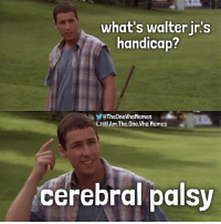 DM me your Breaking Bad meme ideas! You'll get credit and a shoutout if I use it. - { breakingbad walterjr happygilmore adamsandler iamtheonewhomemes}: what's walter in's  handicap?  QTheOneWhoMemes  Gial.Am.The One Who. Memes  cerebral palsy DM me your Breaking Bad meme ideas! You'll get credit and a shoutout if I use it. - { breakingbad walterjr happygilmore adamsandler iamtheonewhomemes}