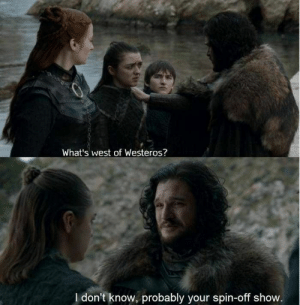 Best Game of Thrones Memes That Are Hilarious (48 Pics)-06: What's west of Westeros?  I don't know, probably your spin-off show. Best Game of Thrones Memes That Are Hilarious (48 Pics)-06