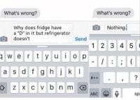 "Whats Wrong Nothing: What's wrong?  What's wrong?  Nothing  Why does fridge have  a ""D"" in it but refrigerator  doesn't  Send  1 2 3 4 5  wertyuiop  a s d f g hjk  2  ABC  sp"