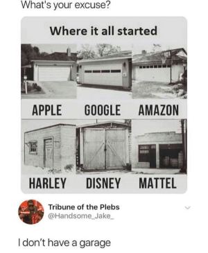 Amazon, Apple, and Disney: What's your excuse?  Where it all started  APPLE  GOOGLE AMAZON  MATTEL  HARLEY DISNEY  Tribune of the Plebs  @Handsome_Jake  I don't have a garage