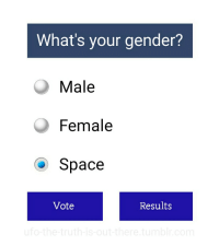Space, Gender, and Whats: What's your gender?  Male  Female  O Space  Vote  Results