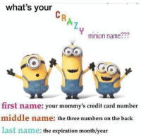 Minion: what's your  minion name???  first name: your mommy's credit card number  middle name: the three numbers on the back  last name: the expiration month/year