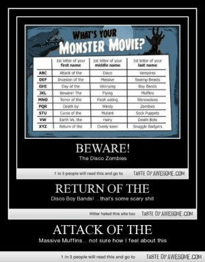 attack of thehttp://omg-humor.tumblr.com: WHAT'S YOUR  MONSTER MOVIE?  1st letter of your  first name  1st letter of your  middle name  1st letter of your  last name  ABC  Disco  Attack of the  Vampires  Invasion of the  Day of the  DEF  Massive  Swamp Beasts  GHI  Worrying  Boy Bands  JKL  Beware! The  Flying  Muffins  Terror of the  Flesh eating  Werewolves  MNO  Death by  Curse of the  Earth Vs. the  PQR  Windy  Zombies  Sock Puppets  Death Bots  Mutant  STU  Hairy  Overly keen  vw  XYZ  Return of the  Snuggle Badgers  BEWARE!  The Disco Zombies  TASTE OF AWESOME.COM  1 in 3 people will read this and go to  RETURN OF THE  Disco Boy Bands! .that's some scary shit  TASTE OFAWESOME.COM  Hitler hated this site too  ATTACK OF THE  Massive Muffins... not sure how I feel about this  TASTE OF AWESOME.COM  1 in 3 people will read this and go to attack of thehttp://omg-humor.tumblr.com