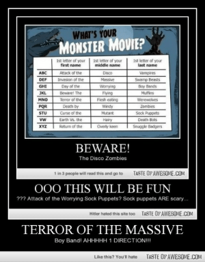 Terror Of The Massive http://omg-humor.tumblr.com: WHAT'S YOUR  MONSTER MOVIE?  1st letter of your  first name  1st letter of your  middle name  1st letter of your  last name  ABC  Disco  Attack of the  Vampires  Invasion of the  Day of the  DEF  Massive  Swamp Beasts  GHI  Worrying  Boy Bands  JKL  Beware! The  Flying  Muffins  Terror of the  Flesh eating  Werewolves  MNO  Death by  Curse of the  Earth Vs. the  PQR  Windy  Zombies  Sock Puppets  Death Bots  Mutant  STU  Hairy  Overly keen  vw  XYZ  Return of the  Snuggle Badgers  BEWARE!  The Disco Zombies  TASTE OF AWESOME.COM  1 in 3 people will read this and go to  O00 THIS WILL BE FUN  ??? Attack of the Worrying Sock Puppets? Sock puppets ARE scary.  TASTE OFAWESOME.COM  Hitler hated this site too  TERROR OF THE MASSIVE  Boy Band! AHHHHH 1 DIRECTION!!!  TASTE OF AWESOME.COM  Like this? You'll hate Terror Of The Massive http://omg-humor.tumblr.com