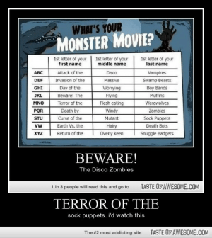Terror Of Thehttp://omg-humor.tumblr.com: WHAT'S YOUR  MONSTER MOVIE?  1st letter of your  middle name  1st letter of your  first name  1st letter of your  last name  Attack of the  ABC  Disco  Vampires  Swamp Beasts  DEF  Invasion of the  Massive  Boy Bands  Muffins  GHI  Day of the  Worrying  Beware! The  JKL  Flying  Terror of the  Flesh eating  Werewolves  MNO  PQR  Death by  Windy  Zombies  Curse of the  Earth Vs. the  Sock Puppets  Death Bots  STU  Mutant  vw  Hairy  Return of the  Overly keen  XYZ  Snuggle Badgers  BEWARE!  The Disco Zombies  1 in 3 people will read this and go to  TASTE OF AWESOME.COM  TERROR OF THE  sock puppets. i'd watch this  TASTE OF AWESOME.COM  The #2 most addicting site Terror Of Thehttp://omg-humor.tumblr.com