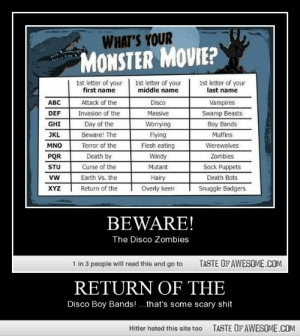 Return of thehttp://omg-humor.tumblr.com: WHAT'S YOUR  MONSTER MOVIE?  1st letter of your  middle name  1st letter of your  first name  1st letter of your  last name  Attack of the  ABC  Disco  Vampires  Swamp Beasts  DEF  Invasion of the  Massive  Boy Bands  Muffins  GHI  Day of the  Worrying  Beware! The  JKL  Flying  Terror of the  Flesh eating  Werewolves  MNO  PQR  Death by  Windy  Zombies  Curse of the  Earth Vs. the  Sock Puppets  Death Bots  STU  Mutant  vw  Hairy  Return of the  Overly keen  XYZ  Snuggle Badgers  BEWARE!  The Disco Zombies  1 in 3 people will read this and go to  TASTE OF AWESOME.COM  RETURN OF THE  Disco Boy Bands! ...that's some scary shit  TASTE OF AWESOME.COM  Hitler hated this site too Return of thehttp://omg-humor.tumblr.com