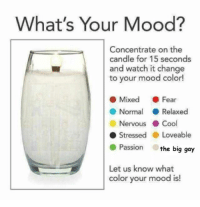 "Mood, Cool, and Watch: What's Your Mood?  Concentrate on the  candle for 15 seconds  and watch it change  to your mood color!  ● Mixed . Fear  ● Normal ( Relaxed  Nervous . Cool  ● Stressed . Loveable  Passion the big gay  Let us know what  color your mood is! <p>Medium range returns, but not much cusomization. via /r/MemeEconomy <a href=""https://ift.tt/2LWRwpV"">https://ift.tt/2LWRwpV</a></p>"