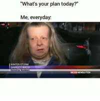 "Facts 😂💀: ""What's your plan today?""  Me, everyday  WINTER STORM  SHIRLEY NASH  Cornelius Resident  WCCB NEWS@TEN Facts 😂💀"