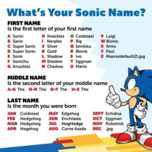 Picture memes JNSTfpfa4 by wabe: 124 comments - iFunny :): What's Your Sonic Name?  FIRST NAME  Is the first letter of your first name  A Sonic  W Blonic  Nerples aSonikku Paul  B Sanic  C Super Sanic J Silver  D Super Sonic K Gold  E Sonk  a Sonikku  X Arms  R Blonic  L Shadow S Ivo  YPaul  z Maxresdefault(2)jpg  F onk  Sonichu  M ShedewT Eggman  Knuckles N Chadow Mario  MIDDLE NAME  Is the second letter of your middle name  A-G The  H-N The O-T The  U-Z The  LAST NAME  Is the month you were born  JAN Coldstee MAY Edgehog SEPT Echidna  FEB Hedgehog JUN Enchilada OCT Eggman  MAR Hedgeheg JUL HogHedge NOV Robotnik  APR Hegehog AUG Carne Asada DEC jpg Picture memes JNSTfpfa4 by wabe: 124 comments - iFunny :)