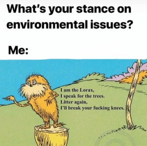 Litter: What's your stance on  environmental issues?  Me:  I am the Lorax,  speak for the trees.  Litter again,  I'll break your fucking knees.  V
