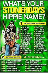 WHATS YOUR  STONER DAYS  HIPPIE NAME?  1ST LETTER OF YOUR NAME  A SUNNY  N DOOBIE  BZIGGY  O CLOUDY  RA TRIC LUCY P MARLEY  Q BREEZY  E STONEY  RZEN  F FREEDOM S SHADOW  G COSMIC  TRAINY  H BLAZE  U STORMY  VINDICA  EJ MISTY  W NUGGET  K SATIVA  X STARFULL  L PEACEFUL Y DAYDREAM  M LIBERTY ZHAPPY  BIRTHDAY MONTH:  stonerdays  JAN-AUTUMN SHROOM  JUL-EVERGREENS  AUG -ECLIPSE  FEB MOON BEAM  MAR-TANGERINE DREAM  SEP CRIMSON RAINBOW  APR LOVE SONG  OCT a DAKOTA RAIN  MAY-BONGTOKER  NOV-SUNFLOWER  JUN COTTONMOUTH  DEC HASH PANTS