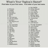 What did u get cunts?: What's Your Vagina's Name?  First letter of your first name. First letter of your last name.  A- Princess  B- Chubby  C- Grumpy  D- Wonderful  E- Dainty  F- Mrs  G- The Glorious  H- The Incredible  I- President  J- The Magnificent  K- Lady  L- The Insatiable  M- The Talented  N Fancy  O- Sparkly  P- The Bald  Q. The Tiny  R- Mc  S Queen  T- Madame  U- Sad  V- Adorable  W- Wild  X- The Reckless  Y- Fluffy  Z- Mademoiselle  A- Hot Waffle  B- Glitter Biscuit  C- Lunch Box  D- Love Muffin  E- Sugar Hole  F. Wonder Bush  G Thunder Bush  H- Chomp Box  I- Muff  J- Jiggly Bits  K- Love Button  L- Thunder Dungeon  M- Love Bunker  N- Destroyer  O- Danger Bin  P- Whisker Biscuit  Q- Pearl Crusher  R- Angry Beaver  S- Penis Glove  T- Banana Basket  U- Fuzz Box  V- Pink Panther  W- Penis Fly Trap  X- Pooter  Y- Moose Knuckle  Z- Snake Charmer What did u get cunts?