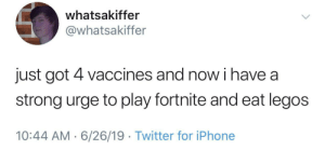 meirl: whatsakiffer  @whatsakiffer  just got 4 vaccines and now i have a  strong urge to play fortnite and eat legos  10:44 AM 6/26/19 Twitter for iPhone meirl