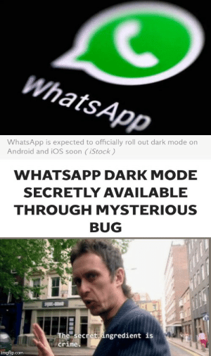 btw guys i have a way to give you some free darkmode: WhatsApp  WhatsApp is expected to officially roll out dark mode on  Android and iOS soon (iStock)  WHATSAPP DARK MODE  SECRETLY AVAILABLE  THROUGH MYSTERIOUS  BUG  Sp-  The secret ingredient is  A crime.  imgflip.com btw guys i have a way to give you some free darkmode