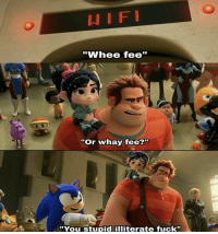 "Fuck, Truth, and You: ""Whee fee""  ""Or whay fee?'  ""You Stupid illiterate fuck"" SANIC speaks the truth"