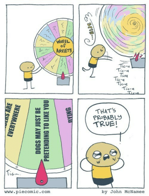 lolfactory:  Feeling Anxious? These Web Comics Will Distract You by Reminding You That You're Not the Only One ➨ funny tumblr[via failblog]: WHEEL  of  ANXIETY  Tic-a  Tic-a  Tica  Tic-a  Tica  Tic-a  Tica  THAT'S  PROBABLY  TRUE!  Ticm.  www.piecomic.com  by John McNamee  SENS ARE  EVERYWHERE  DOGS MAY JUST BE  PRETENDING TO LIKE YOU  DYING  SPIN... lolfactory:  Feeling Anxious? These Web Comics Will Distract You by Reminding You That You're Not the Only One ➨ funny tumblr[via failblog]