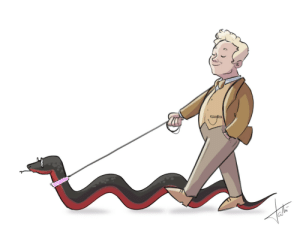 Target, Tumblr, and Blog: wheeloffortune-design:  People in Soho don't even blink when Mister Fell walks his giant snake.___How it happens:Crowley: *is being a snake in the bookstore*Aziraphale: My dear, fancy a walk around the neighbourhood?Crowley: But I'm not done snaking…Aziraphale: Is that a yes or a no?Crowley: I want to… but I really don't feel like having legs right now?Aziraphale: You can slither next to me. Hm, except I think there are municipal laws about pets- You'd need a leash and a collar. There's a petshop nearby. Crowley: Get me something that sparkles. ___(this is not intended as kink, but i got nothing against that if you want to headcanon it.)