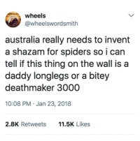 Aussie Problems: wheels  @wheelswordsmith  australia really needs to invent  a shazam for spiders so i can  tell if this thing on the wall isa  daddy longlegs or a bitey  deathmaker 3000  10:08 PM Jan 23, 2018  2.8K Retweets  11.5K Likes Aussie Problems