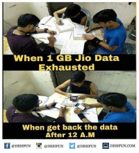 Twitter: BLB247 Snapchat : BELIKEBRO.COM belikebro sarcasm meme Follow @be.like.bro: When 1 GB Jio Data  Exhausted  When get back the data  After 12 A.M  困@DESIFUN 증@DESIFUN  @DESIFUN-DESIFUN.COM Twitter: BLB247 Snapchat : BELIKEBRO.COM belikebro sarcasm meme Follow @be.like.bro