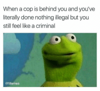 Dank, Memes, and True: When a cop is behind you and you've  literally done nothing illegal but you  still feel like a criminal  @Memes So true