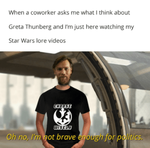 Politics, Star Wars, and Videos: When a coworker asks me what I think about  Greta Thunberg and I'm just here watching my  Star Wars lore videos  СнооSE  WISELY  Oh no, I'm not brave enough for politics. You deserve your glorious day with the politicians
