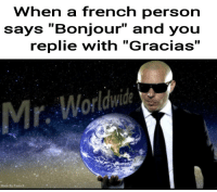 """French, You, and Person: When a french person  says """"Bonjour"""" and you  replie with """"Gracias""""  Mr. Worldwide <p>Hola monsieur</p>"""
