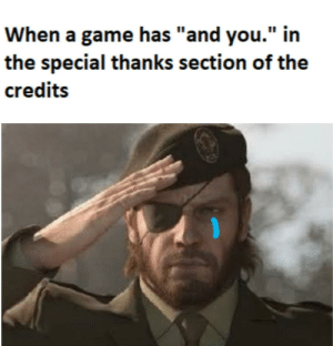 """Game, A Game, and You: When a game has """"and you."""" in  the special thanks section of the  credits Its an honor"""