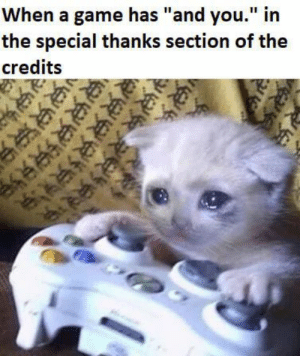 """The best feeling a gamer can have via /r/wholesomememes https://ift.tt/2GNP9Wd: When a game has """"and you."""" in  the special thanks section of the  credits  R  ఆకక  ఆ  జజుల The best feeling a gamer can have via /r/wholesomememes https://ift.tt/2GNP9Wd"""