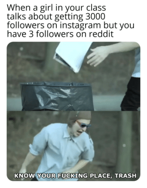 Bad, Dank, and Fucking: When a girl in your class  talks about getting 3000  followers on instagram but you  have 3 followers on reddit  KNOW YOUR FUCKING PLACE, TRASH 33000 instagram bad. reddit good by Rilzab MORE MEMES