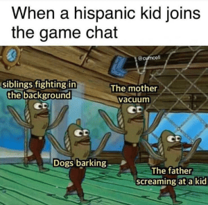 Dogs, Memes, and The Game: When a hispanic kid joins  the game chat  @cumcell  siblings fighting in  the background  The mother  Vacuum  Dogs barking  The father  screamingat a kid 10/10 gaming experience via /r/memes https://ift.tt/2FLRfHX