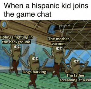 Dank, Dogs, and Memes: When a hispanic kid joins  the game chat  siblings fighting in  the background  The mother  vacuum  ct  Dogs barking  The father  screaming at a kid I had a friend like this by HazArDoUs0007 MORE MEMES