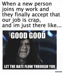😈: When a new person  joins my work and  they finally accept that  our job is crap,  and im just there like.  GOOD GOOD  LET THE HATE FLOW THROUGH YOU  memes.com 😈