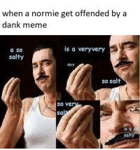 Dank, Meme, and Being Salty: when a normie get offended by a  dank meme  is a veryvery  a so  salty  ayy  so salt  so ve  Sa  is a  sal