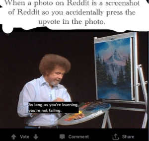Reddit, Tumblr, and Blog: When a photo on Reddit is a screenshot  of Reddit so you accidentally press the  upvote in the photo.  long as you're learning,  you're not failing.  Vote  Comment  , share awesomacious:  It's fine, guys; we all do it. Enjoy your redditting.