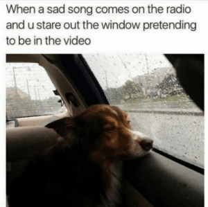 Radio, Video, and Sad: When a sad song comes on the radio  and u stare out the window pretending  to be in the video