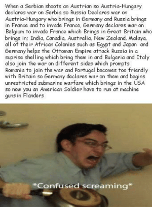 Belgium, Confused, and Empire: When a Serbian shoots an Austrian so Austria-Hungary  declares war on Serbia so Russia Declares war on  Austria-Hungary who brings in Germany and Russia brings  in France and to invade France, Germany declares war on  Belgium to invade France which Brings in Great Britain who  brings in: India Conadia Australia, New Zealand, Malaya  all of their African Colonies such as Egypt and Japan and  Germany helps the Ottoman Empire attack Russia in a  suprise shelling which bring them in and Bulgaria and Italy  also join the war on different sides which prompts  Romania to join the war and Portugal becomes too friendly  with Britain so Germany declares war on them and begins  unrestricted submarine warfare which brings in the USA  so now you an American Soldier have to run at machine  guns in Flanders  Confused screaming* did i get them all?
