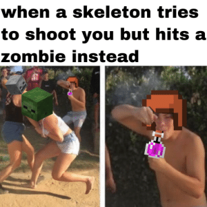 mob fight club: when a skeleton tries  to shoot you but hits a  zombie instead mob fight club