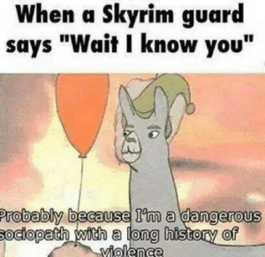 """Looooong history of violence: When a Skyrim guard  says """"Wait I know you""""  Probably because I'm a dangerous  sociopath with a long history of  Yiolence Looooong history of violence"""