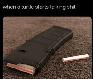 Skskskskkill: when a turtle starts talking shit Skskskskkill