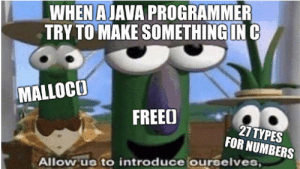 Time, Garbage, and Will: WHEN AJAVA PROGRAMMER  TRY TO MAKE SOMETHINGIN C  MALLOCOO  FREEO  27TYPES  FOR NUMBERS  Allow us to introduce ourselves Garbage collector will not save you this time