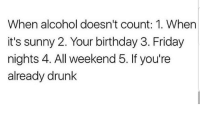 Facts 🙏🙏🙏😂😂😂 🔥 Follow Us 👉 @latinoswithattitude 🔥 latinosbelike latinasbelike latinoproblems mexicansbelike mexican mexicanproblems hispanicsbelike hispanic hispanicproblems latina latinas latino latinos hispanicsbelike: When alcohol doesn't count: 1. When  it's sunny 2. Your birthday 3. Friday  nights 4. All weekend 5. If you're  already drunk Facts 🙏🙏🙏😂😂😂 🔥 Follow Us 👉 @latinoswithattitude 🔥 latinosbelike latinasbelike latinoproblems mexicansbelike mexican mexicanproblems hispanicsbelike hispanic hispanicproblems latina latinas latino latinos hispanicsbelike