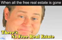 Real Estate: When all the free real estate is gone  u/Froosty The Snoo Man  There's  No Tree Beal Estate
