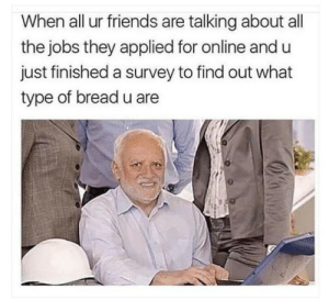 Friends, Life, and Jobs: When all ur friends are talking about all  the jobs they applied for online and u  just finished a survey to find out what  type of bread u are My life is fucked up