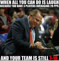 WHEN ALL YOU CAN DO IS LAUGH  BECAUSE YOU HAVE a PLAYERS AVERAGING 20 PPG  ONBAMEMES  AND YOUR TEAM IS STILL  T-18. How is that even possible? #Timberwolves Nation