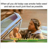 Food, Funny, and Weed: When all you did today was smoke hella weed  and eat as much junk food as possible.  Today Was.a good day 😏