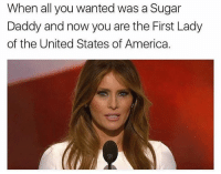 United Stated: When all you wanted was a Sugar  Daddy and now you are the First Lady  of the United States of America.